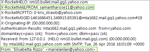 Image of a mail header showing a forged from address.